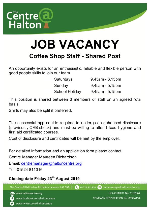 Coffee Shop Job Vacancy - The Centre @ Halton